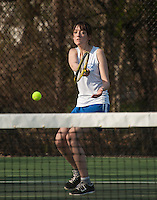 Sisi Remick of Gilford makes a line drive forehand return during singles with White Mountain on Wednesday afternoon.  (Karen Bobotas/for the Laconia Daily Sun)