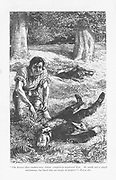 Adam Bede, having got the better of Arthur Donnithorne in a fight, is horrified to see his rival lying unconcious.  'Adam Bede' by George Eliot, first published 1859. Illustration by William Small (1843-1929) from an edition published c1885.