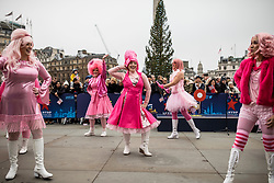 © Licensed to London News Pictures. 30/12/2018. London, UK. The Cotton Candies from Huntsville in Alabama, USA,  perform at a preview ahead of the London New Year's Day Parade in Trafalgar Square. More than 8,000 performers from 26 countries will take part in the parade on 1st January 2019. Photo credit: Rob Pinney/LNP