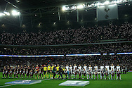 the two teams line up before k/o .UEFA Champions league match, group E, Tottenham Hotspur v Bayer Leverkusen at Wembley Stadium in London on Wednesday 2nd November 2016.<br /> pic by John Patrick Fletcher, Andrew Orchard sports photography.