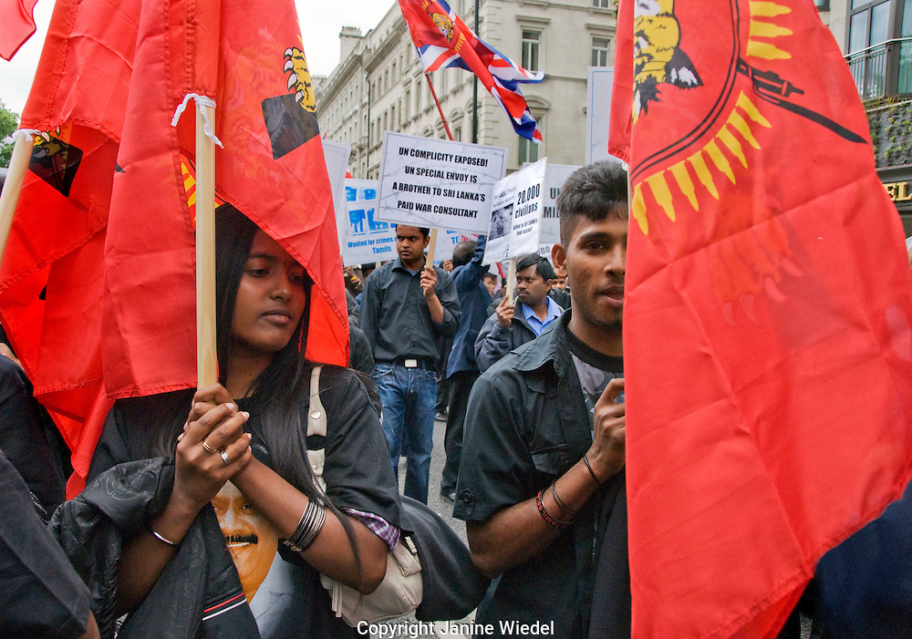 100,000 Tamils Protest in London over Sri Lanks's concentration camps. 20th June 2009. Tens of thousands of Tamils have been killed this year and over 13,000 disappeared from internment camps.