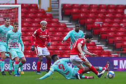 Harry Arter of Nottingham Forest  has his attempted shot blocked by Jamal Lowe of Swansea City - Mandatory by-line: Nick Browning/JMP - 29/11/2020 - FOOTBALL - The City Ground - Nottingham, England - Nottingham Forest v Swansea City - Sky Bet Championship