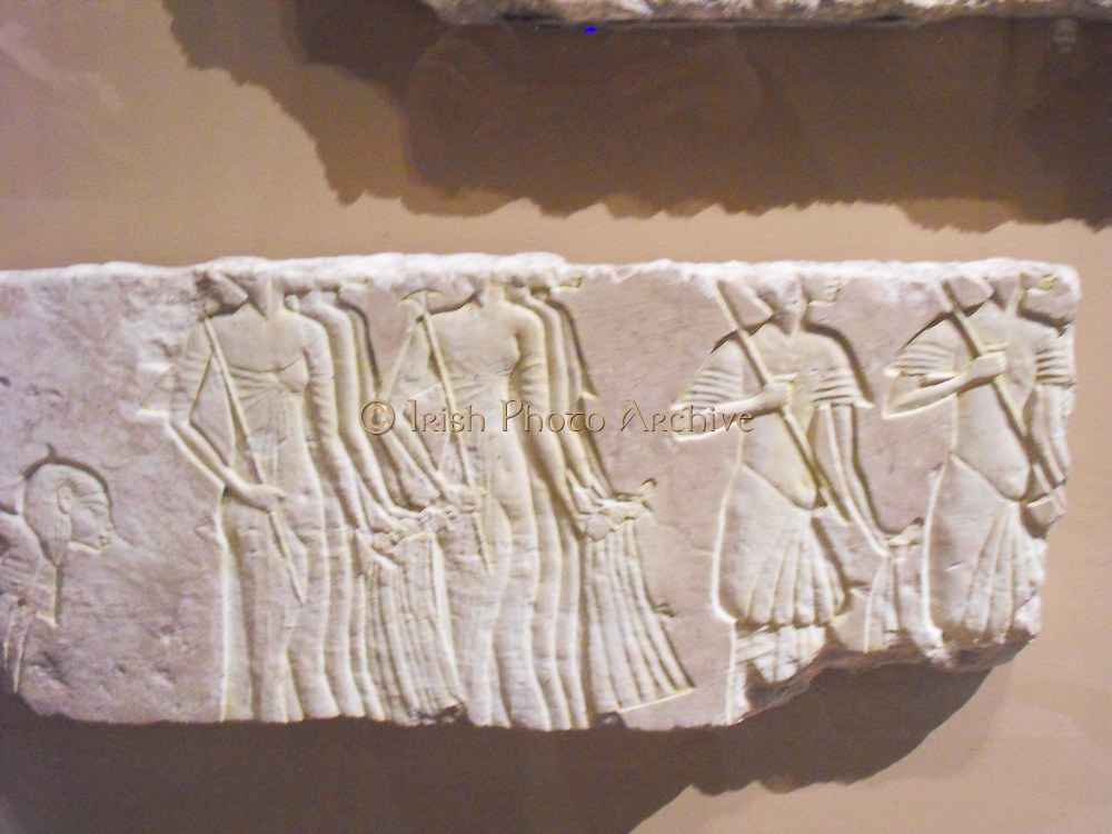 relief fragments showing royal and court figures. 18th Dynasty, reign of Akhenaten 1353-1336 BC