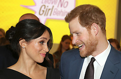 Prince Harry and Meghan Markle attend a women's empowerment reception at the Royal Aeronautical Society in London during the Commonwealth Heads of Government Meeting.