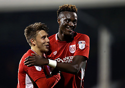Tammy Abraham of Bristol City celebrates with Luke Freeman after their side's win over Fulham in the EFL Cup - Mandatory by-line: Robbie Stephenson/JMP - 21/09/2016 - FOOTBALL - Craven Cottage - Fulham, England - Fulham v Bristol City - EFL Cup
