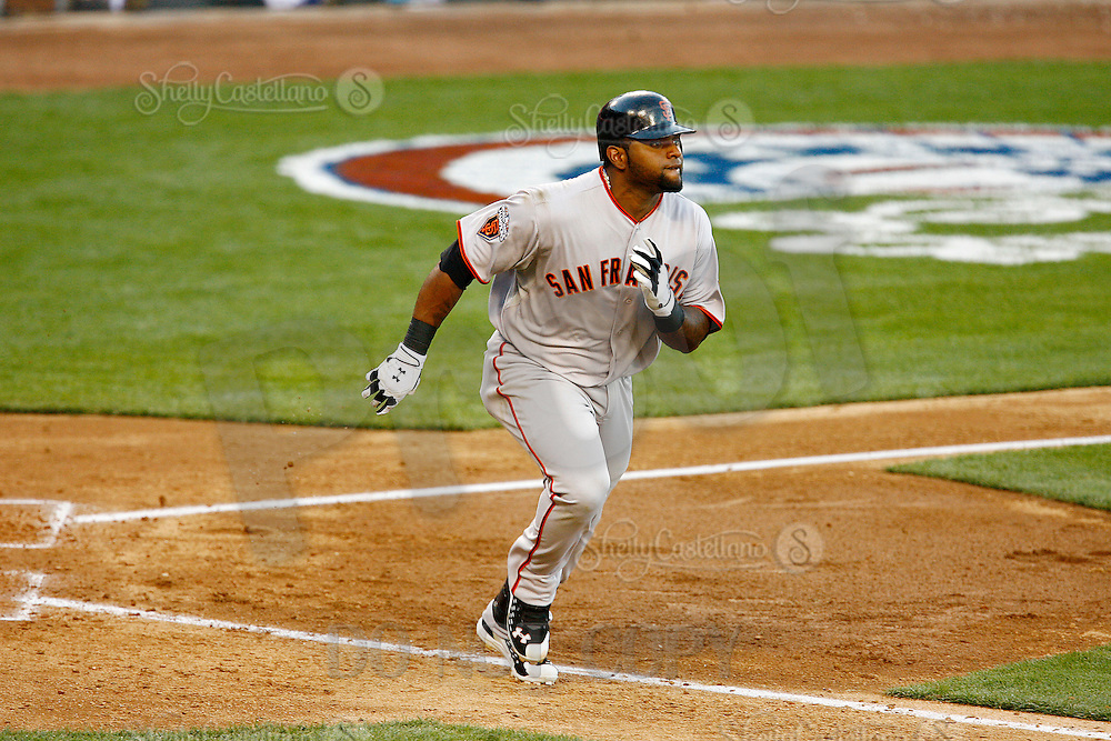 31 March 2011: Giants third basemen #48 Pablo Sandoval runs to first base as the San Francisco Giants were defeated 2-1 by the Los Angeles Dodgers  during a sold out game at Dodger Stadium in Los Angeles, California on opening day..***** Editorial Use Only *****