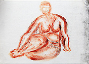 Fat nude womansitting, as seen from the front. Photograph of an acrylic painting by Vladi Alon. Property release available