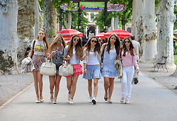 "05.06.2010, Zrinjevac, Zagreb, Croatia - Six girls walks in the park Zrinjevac. Croatian youth also has their own ""sex and the city"". .EXPA Pictures © 2010, PhotoCredit: EXPA/ Pixell/ Goran Stanzl / SPORTIDA PHOTO AGENCY"