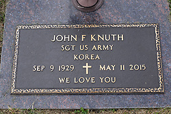 31 August 2017:   Veterans graves in Park Hill Cemetery in eastern McLean County.<br /> <br /> John F Knuth Sergeant US Army Korea  Sep 9 1929  May 11 2015