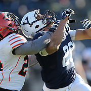 Wide receiver Grant Wallace, (right), Yale, and John Hill, Princeton, challenge for the ball during an incomplete pass during the Yale Vs Princeton, Ivy League College Football match at Yale Bowl, New Haven, Connecticut, USA. 15th November 2014. Photo Tim Clayton