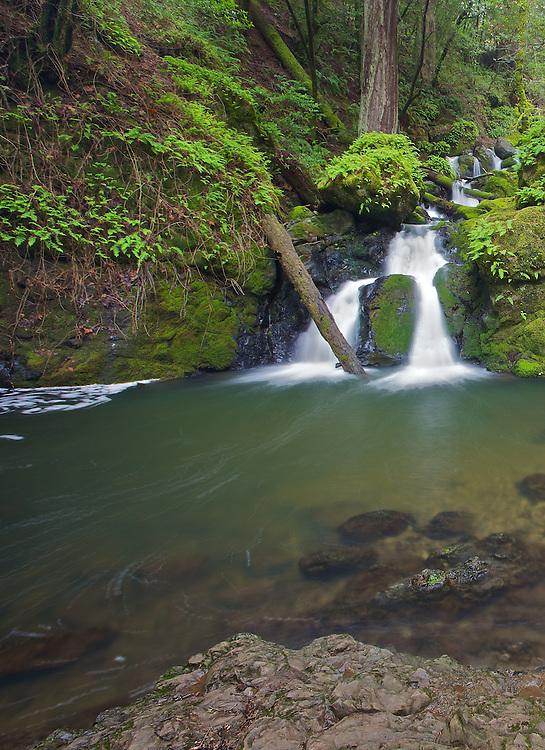 base of a small waterfall, cataract falls in fairfax california