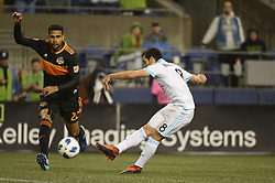 October 8, 2018 - Seattle, Washington, U.S - Seattle's VICTOR RODRIGUEZ (8) shoots and scores a late 2nd half goal as the Houston Dynamo visits the Seattle Sounders in a MLS match at Century Link Field in Seattle, WA. Seattle won the match 4-1. (Credit Image: © Jeff Halstead/ZUMA Wire)