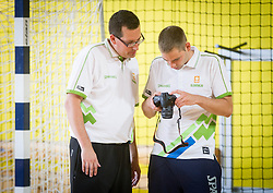 Grega Brezovec and … during training camp of Slovenian National basketball team for Eurobasket 2013 on July 19, 2013 in Sports hall Rogatec, Slovenia. (Photo by Vid Ponikvar / Sportida.com)