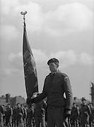 1983-04-12.12th April 1983.12-04-1983.04-12-83..Photographed at McKee Barracks, Cork..Battalion Flag..Lieutenant Martin Murphy of Cork bearing the new battalion flag..