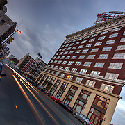 Downtown Kansas City's Western Auto Building/Western Auto Lofts, wide and low angle view at 2107 Grand, KCMO.