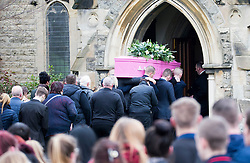 © Licensed to London News Pictures. 09/02/2017. Dinnington UK. The funeral has taken place today of 16 year old Leonne Weeks at St Leonards Church in Dinnington. Leonne's body was discovered on the 16th January on a pathway on Lordens Hill. Shea Peter Heeley is due to appear at Sheffield Crown Court later this month charged with her murder.  Photo credit: Andrew McCaren/LNP