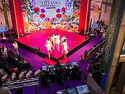 25 MARCH 2015 - BANGKOK, THAILAND: Contestants on stage in the first round of the Miss Tiffany's contest at CentralWorld, a large shopping mall in Bangkok. Miss Tiffany's Universe is a beauty contest for transgender contestants; all of the contestants were born biologically male. The final round will be held on May 8 in the beach resort of Pattaya. The final round is televised of the  Miss Tiffany's Universe contest is broadcast live on Thai television with an average of 15 million viewers.     PHOTO BY JACK KURTZ
