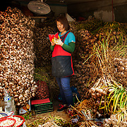 A garlic vendor uses her phone while standing among her produce at Gupo Market, Busan, South Korea, May 24, 2013.