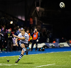 Jarrod Evans of Cardiff Blues kicks at goal<br /> <br /> Photographer Simon King/Replay Images<br /> <br /> Guinness PRO14 Round 15 - Cardiff Blues v Glasgow Warriors - Saturday 16th February 2019 - Cardiff Arms Park - Cardiff<br /> <br /> World Copyright © Replay Images . All rights reserved. info@replayimages.co.uk - http://replayimages.co.uk