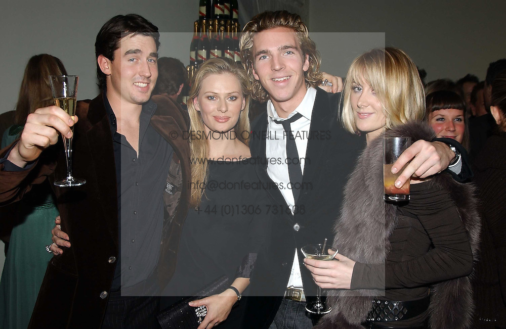 Left to right, LUIS BUCKWORTH, BRINDE COLLINS, LADY EMILY COMPTON and MR JAMES COOK at a party to celebrate the 4th anniversary of Quintessentially held at 11 Grosvenor Place, London  SW1 on 14th December 2004.<br /><br />NON EXCLUSIVE - WORLD RIGHTS