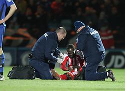 Stoke City's Victor Moses picks up an injury - Photo mandatory by-line: Matt McNulty/JMP - Mobile: 07966 386802 - 26/01/2015 - SPORT - Football - Rochdale - Spotland Stadium - Rochdale v Stoke City - FA Cup Fourth Round