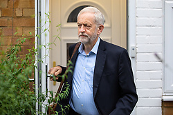 © Licensed to London News Pictures. 07/10/2019. London, UK. Leader of the Labour Party Jeremy Corbyn leaves his home this morning. Corbyn's office are due to hold talks with civil servants to discuss the potential imminent election. Photo credit : Tom Nicholson/LNP