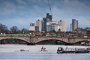 Putney, Greater London. 16 February 2020, Pre Boat Race Fixture, Cambridge University Women's Boat Club, [L] CUWBC vs [R] A.S.R. Neraus Rowing Club  Championship Course, Putney to Mortlake, River Thames, [Mandatory Credit: Peter SPURRIER/Intersport Images],<br /> <br /> CUWBC Crew: B. Patricia Smith, 2. Rebecca Dell, 3. Bronya Sykes,  4. Sophie Paine, 5. Anouschka Fenley,<br /> 6. Caoimhe Dempsey, 7. Abba Parker, S. Larkin Sayre<br /> Cox. Dylan Whitaker