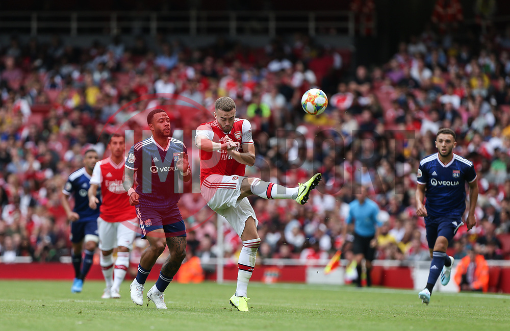 Calum Chambers of Arsenal makes a clearance - Mandatory by-line: Arron Gent/JMP - 28/07/2019 - FOOTBALL - Emirates Stadium - London, England - Arsenal v Olympique Lyonnais - Emirates Cup