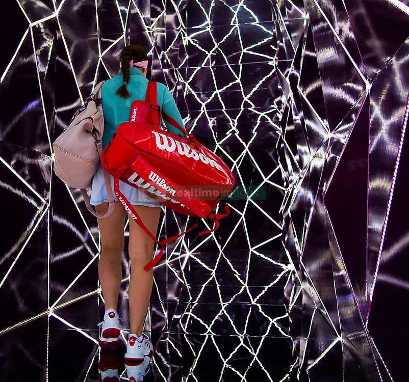 February 13, 2019 - Doha, QATAR - Jelena Ostapenko of Latvia heads onto the court for her second-round match at the 2019 Qatar Total Open WTA Premier tennis tournament (Credit Image: © AFP7 via ZUMA Wire)