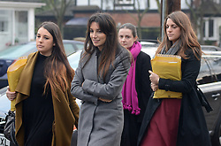 "© Licensed to London News Pictures.10/12/2013. London, UK. Joelle Rich, Associate at Schillings (L2) and other members of ""Team Cupcake"" a group of supporters of Nigella Lawson arrive to give evidence at Isleworth Crown Court in London.Photo credit : Peter Kollanyi/LNP"