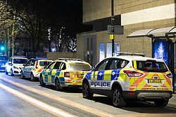 © Licensed to London News Pictures . 31/12/2018. Manchester, UK. Police close off Victoria Station in Manchester after reports of multiple stabbings , including to a British Transport Police officer , following a knife attack on a platform at the station . A man has been arrested and a taser was deployed at the scene . Photo credit: Joel Goodman/LNP