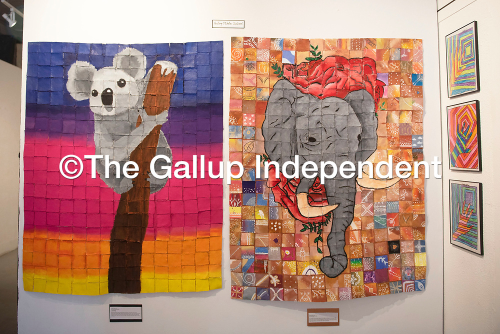 Mosaics made by Gallup Middle School students showcased at the 6th Annual Youth Art Show, Saturday, March 14 at Art123 Gallery in Gallup. The youth art show showcases 600 students from 14 different schools and will be on display at Art123 Gallery until April 7.