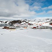 An elevated view of Bellingshausen Station and Frei Base on King George Island in Antarctica.