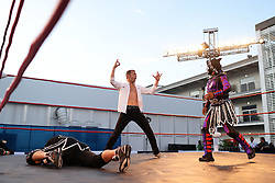 Townsend Bell (USA) NBC Presenter tries wrestling.<br /> 27.10.2016. Formula 1 World Championship, Rd 19, Mexican Grand Prix, Mexico City, Mexico, Preparation Day.<br />  <br /> / 271016 / action press