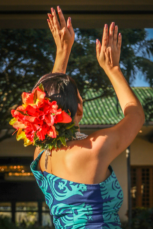 Hula dancers perform at the Grand Hyatt Kauai, Hawaii