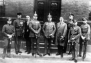 From left to right: Heinz Pernet, Dr. Friedrich Weber, Wilhelm Frick, Hermann Kriebel, Erich Ludendorff, Adolf Hitler, Ernst Röhm, Wilhelm Brückner, Robert Wagner.