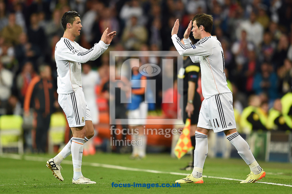 Cristaino Ronaldo and Gareth Bale of Real Madrid during the UEFA Champions League match against Bayern Munich at the Estadio Santiago Bernabeu, Madrid<br /> Picture by Andrew Timms/Focus Images Ltd +44 7917 236526<br /> 23/04/2014