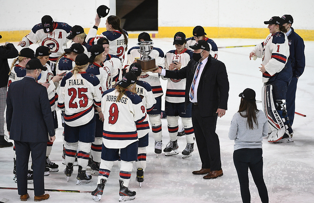 ERIE, PA - MARCH 06: Head Coach Paul Colontino of the Robert Morris Colonials reacts after the Colonials defeated the Syracuse Orange 1-0 in the championship game at the Erie Insurance Arena on March 6, 2021 in Erie, Pennsylvania. (Photo by Justin Berl/Robert Morris Athletics)