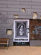 """Som Republica""  - We Are A Republic. Poster of an upside down Felipe VI of Spain, the King of Spain, Moià, Catalonia. There was widespread dissent against the King following his refusal to condemn police violence against voters during the October 1 2017 Catalan independence referendum."