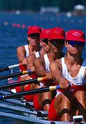 Atlanta, United States of America. Bronze Medalist: CAN W4X. Laryssa BIESENTHAL: Kathleen HEDDLE: Marnie McBEAN: Diane O'GRADY. 1996 Olympic Regatta, Lake Lanier, Gainesville<br /> <br />  Georgia. [Mandatory Credit: Peter Spurrier: Intersport Images]