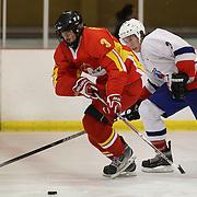 Bao Jiachang, China, and  Ingolfur Eliasson, Iceland, challenge during the China V Iceland match at the 2012 IIHF Ice Hockey World Championships Division 3 held at Dunedin Ice Stadium. Dunedin, Otago, New Zealand. 22nd January 2012. Photo Tim Clayton