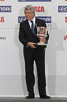 Atletico de Madrid´s Enrique Cerezo receives Diego Costa´s and Thibaut Courtois´s awards during MARCA Football Awards ceremony in Madrid, Spain. November 10, 2014. (ALTERPHOTOS/Victor Blanco)