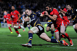 Chris Pennell of Worcester Warriors scores the decisive try in the final play - Photo mandatory by-line: Patrick Khachfe/JMP - Mobile: 07966 386802 27/05/2015 - SPORT - RUGBY UNION - Worcester - Sixways Stadium - Worcester Warriors v Bristol Rugby - Greene King IPA Championship Play-off Final (Second leg)