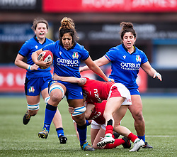 Sara Tounesi of Italy<br /> <br /> Photographer Simon King/Replay Images<br /> <br /> Six Nations Round 1 - Wales Women v Italy Women - Saturday 2nd February 2020 - Cardiff Arms Park - Cardiff<br /> <br /> World Copyright © Replay Images . All rights reserved. info@replayimages.co.uk - http://replayimages.co.uk