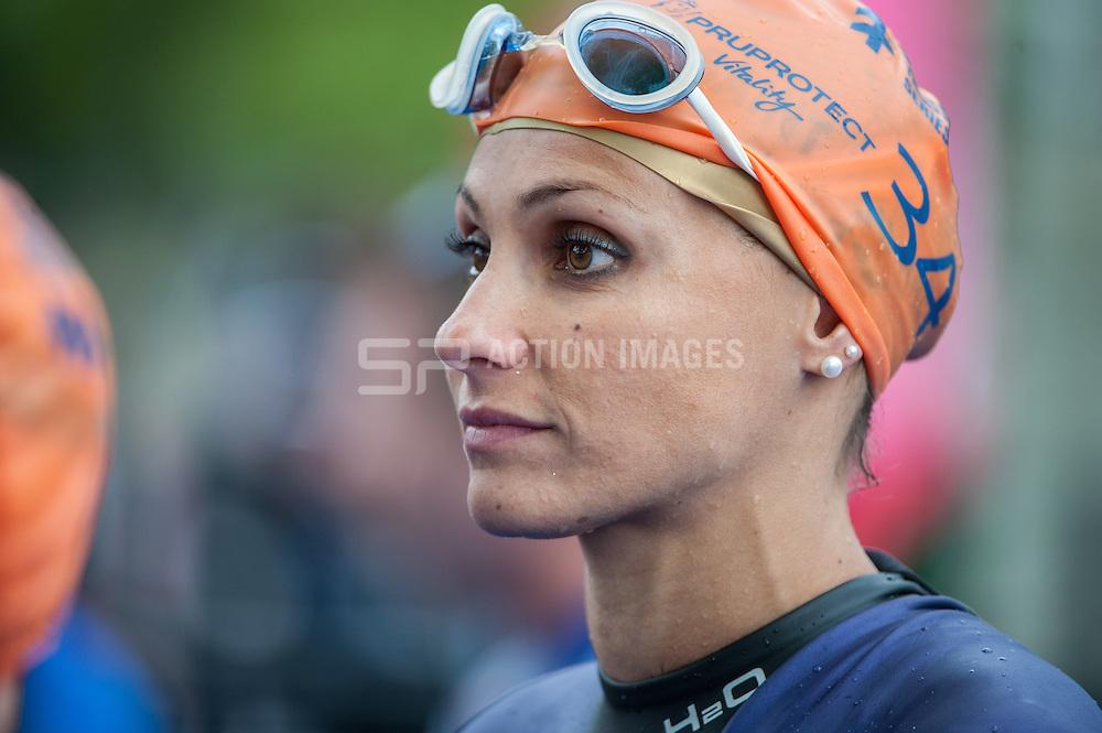 Anne Tabarant (FRA). Elite Women - Pru Health World Triathlon, Hyde Park, London, UK on 31 May 2014. Photo: Simon Parker