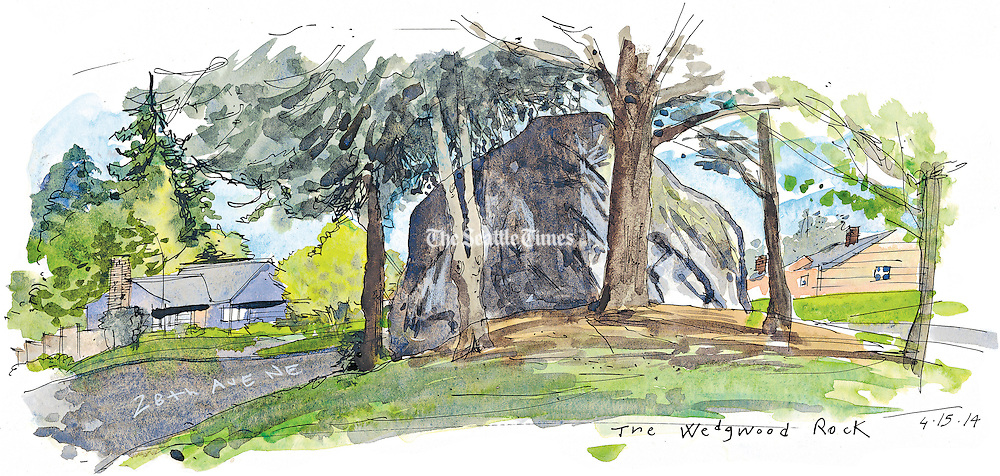 The Wedgewood Rock in North East neighborhood of Seattle.<br /> <br /> Gabriel Campanario / The Seattle Times