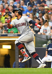 May 8, 2018 - Milwaukee, WI, U.S. - MILWAUKEE, WI - MAY 08: Cleveland Indians Shortstop Francisco Lindor (12) heads to 1st during a MLB game between the Milwaukee Brewers and Cleveland Indians on May 8, 2018 at Miller Park in Milwaukee, WI. The Brewers defeated the Indians 3-2.(Photo by Nick Wosika/Icon Sportswire) (Credit Image: © Nick Wosika/Icon SMI via ZUMA Press)