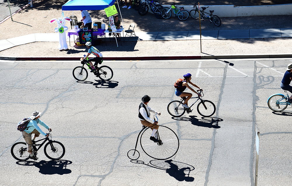 High-wheeler joins the pedaling masses at Cyclovia Tucson.