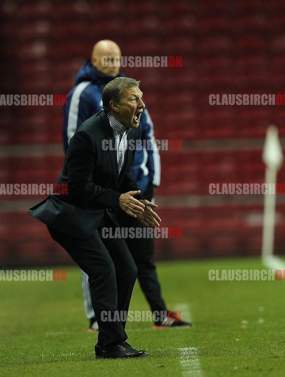 Chief Coach Colin Todd of Randers FC is frustrated during the Danish DBU Pokalen Cup match between FC København and Randers FC at Telia Parken on March 5, 2015 in Copenhagen, Denmark. (Photo by Claus Birch)