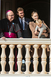 Beatrice Borromeo, Pierre Casiraghi, Stefano Ercole Casiraghi are attending from the balcony the parade at the Palace Square during the National Day ceremonies in Monaco on November 19, 2018. Photo by ABACAPRESS.COM